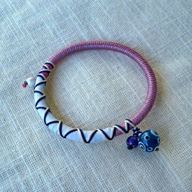"Summer 2013 Jewelry collection ""Pink & Black"" evil eye silver bead bracelet"