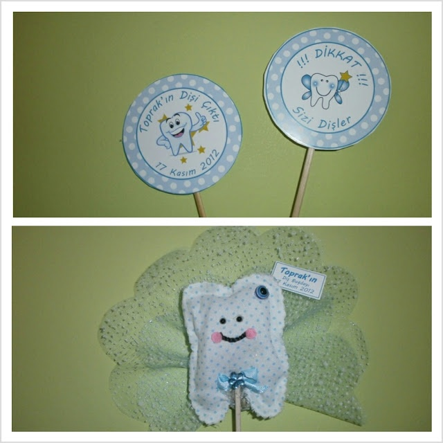 Diş Buğdayı için Dikkat Dişim Çıktı yazılı yemek kartı ve diş şeklinde hediyelik magnet