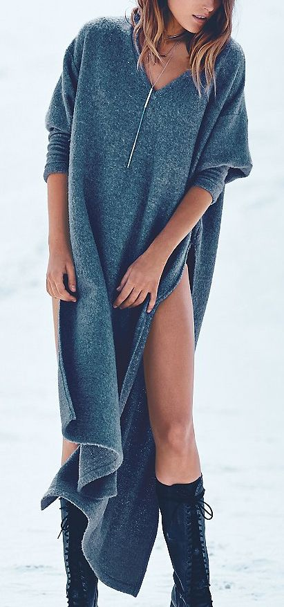 "Cozy knit maxi...I only want this if the sides zip up, top zipped down! Totally ""chillin'a mi casa"" kinda duds...(yawn)."