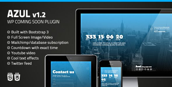 Azul - Responsive WordPress Coming Soon Plugin   http://codecanyon.net/item/azul-responsive-wordpress-coming-soon-plugin/6994669?ref=damiamio            Customer Support. Great plugin. I now use it all the time on new sites! Support is great also. Very happy. yepyeh    Design Quality. Generally a great there. Some of the designs could be better, for instance the accordion. Also, it would be better if one could pin the menu to the top. mrmnicholson    Design Quality  docizzen…