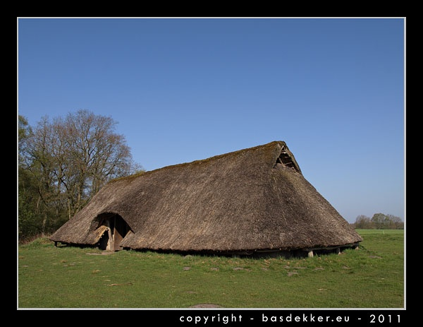 replica of a prehistoric farm in drenthe holland