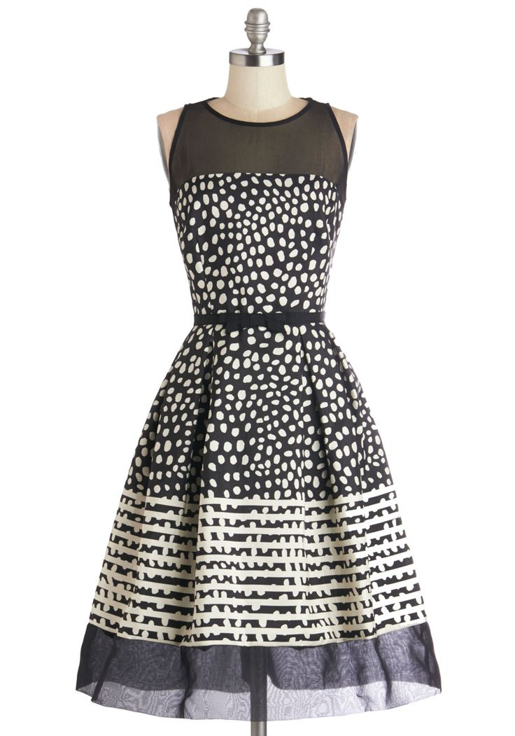 Champagne Cocktails Dress. All around you, your guests glasses are filled with beverages as bubbly as the black dotted dress youre wearing! #prom #modcloth