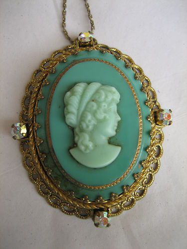 Vintage West Germany Necklace Filigree Green Glass Cameo