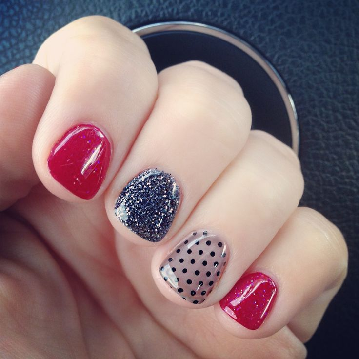 Red, glitter, transparent black polka dots #nailart