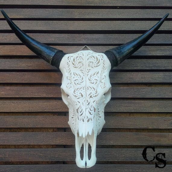 Sculpté à la main motif Circle, crâne Animal tête, crâne osseux Art, crâne Wall Mount Decor, Steer Cow Skull tête de taureau, maison de…