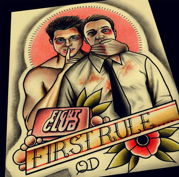Fight Club Art Print by ParlorTattooPrints on Etsy                                                                                                                                                                                 More