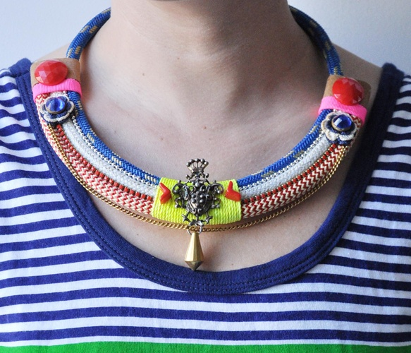 Neon Blue Rope Collar Necklace