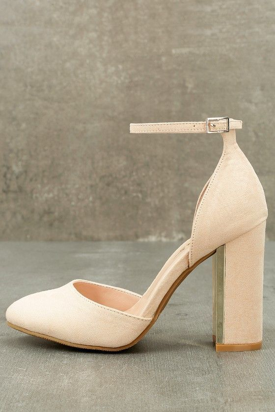 9974d9de5cc7 Everyone loves the Laura Nude Suede Ankle Strap Heels with their trendy  vegan suede design