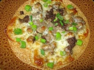 """Delicious FAILSAFE """"Food For Life, brown rice tortilla"""" pizza."""