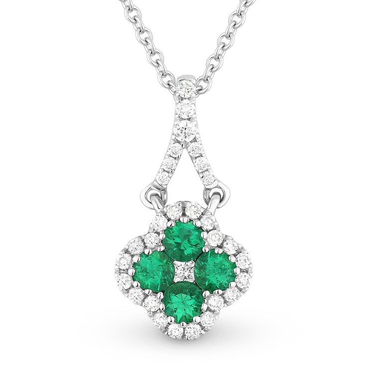0.32ct Emerald Cluster & Diamond Pave Flower Charm Pendant & Chain Necklace in 14k White Gold - AlfredAndVincent.com
