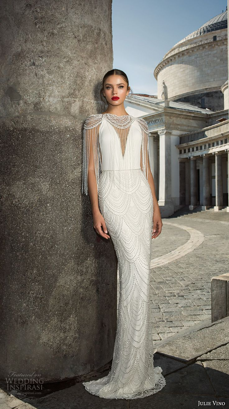 julie vino fall 2017 bridal cap sleeves illusion boat neck deep v neck full embellishment elegant sophiscated sheath wedding dress low back sweep train (1208) mv