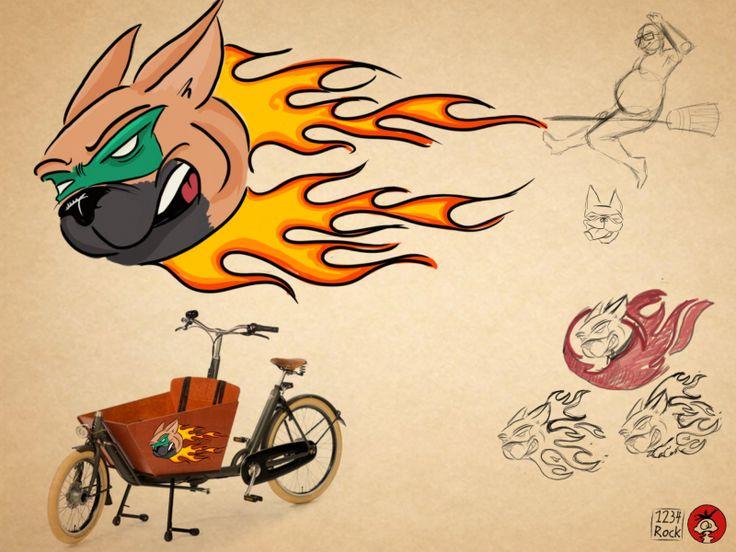 Nun hab ich mein Bakfiets fast ein Jahr. Darum wird es Zeit die Beklebung zu ändern. Bisher stand die Internetadressen des Herstellers drauf... wenn ich das mit dem Illustrator gebacken bekomme, mach ich die Polly in Flammen drauf.   #Fahrrad #Freiburg #Versuche #Was fehlt oder nicht