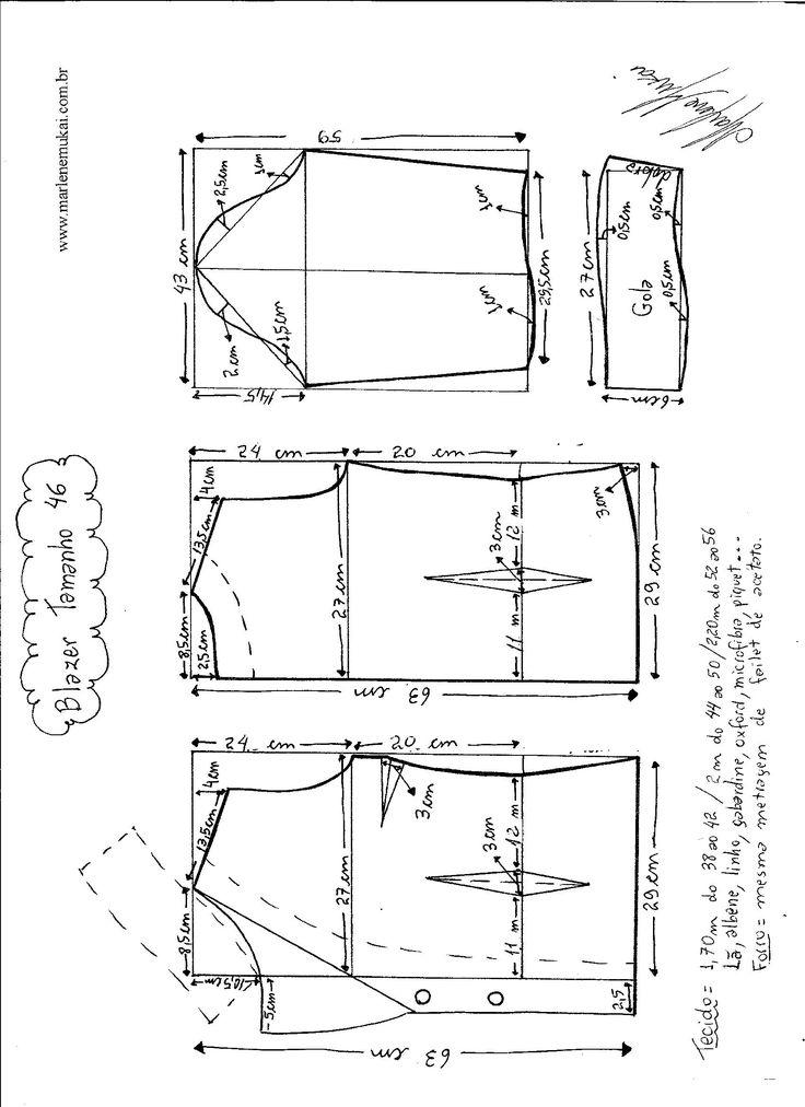 Esquema de modelagem do Blazer com Gola Tradicional tamanho 46.