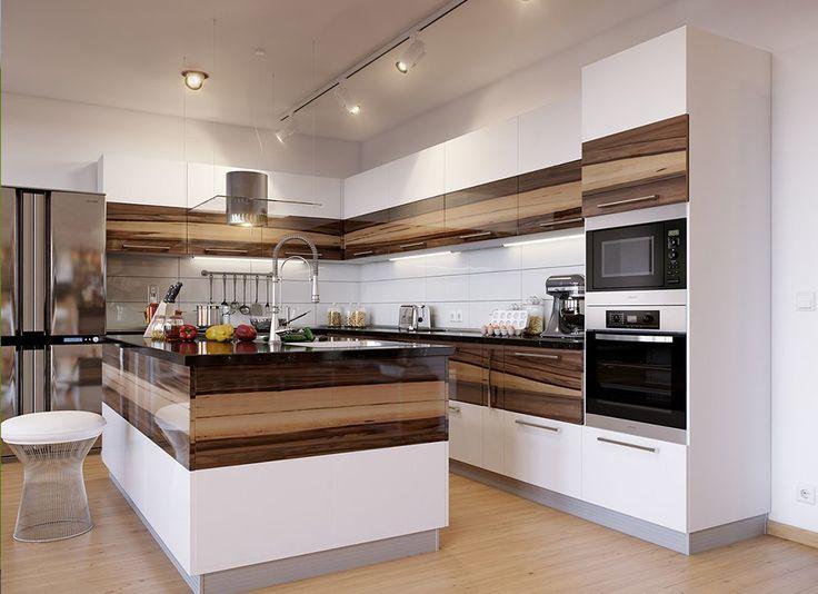 Белая кухня. Кухня с комбинированными фасадами из шпона и крашенного мдф. Кухня с островом, шпон кухня, white kitchen, modern kitchen