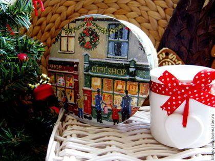 Шкатулка-бонбоньерка Рождественские окна - бонбоньерка,шкатулка,шкатулка круглая