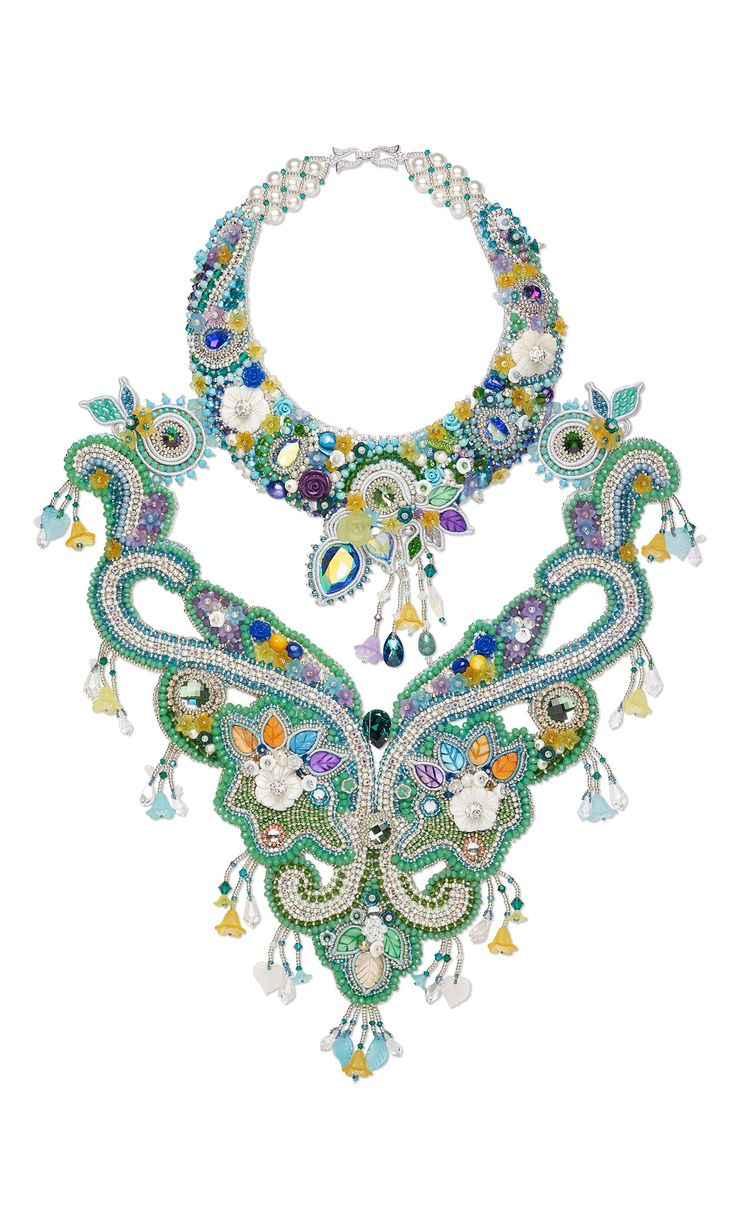Jewelry Design - Bib-Style Necklace with Seed Beads, Swarovski® Crystals and Acrylic Components - Fire Mountain Gems and Beads
