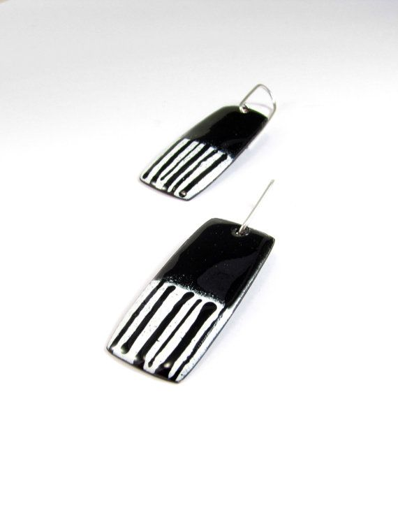 Enamelled Copper Earrings  Black and White by RedBikeStudio, $29.00