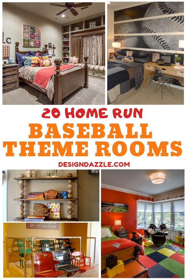 20 Baseball Themed Bedroom Decoration Ideas Boys Home Run Room Baseball Themed Bedroom Sports Themed Bedroom Bedroom Themes