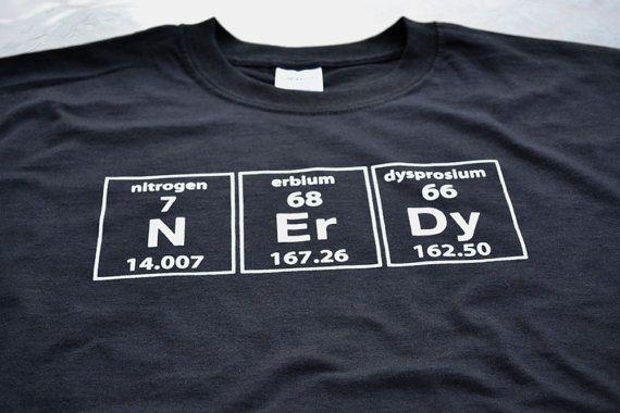 Periodic Nerdy T shirt Funny Geek tshirt men youth teen boy geeky tee nerdy geekery science chemistry school class nitrogen on Etsy, $14.99