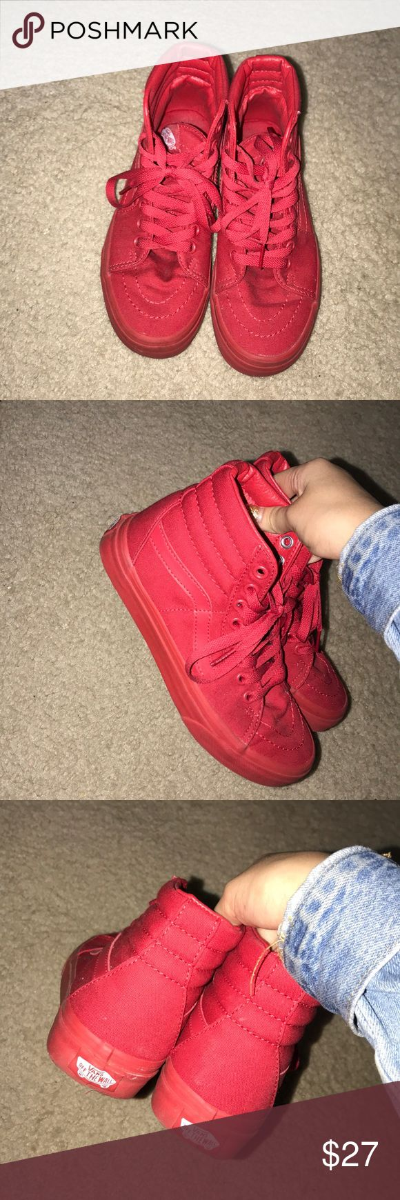 authentic all red high top vans new condition Vans Shoes Sneakers