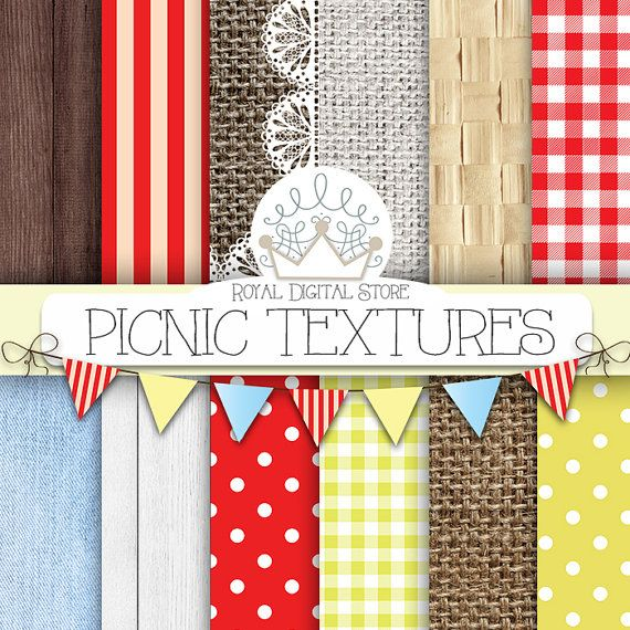 "Picnic Digital Paper: ""Picnic Textures Digital Paper"" with picnic backgrounds, gingham, straw, burlap, wood, denim in red, brown, yellow"