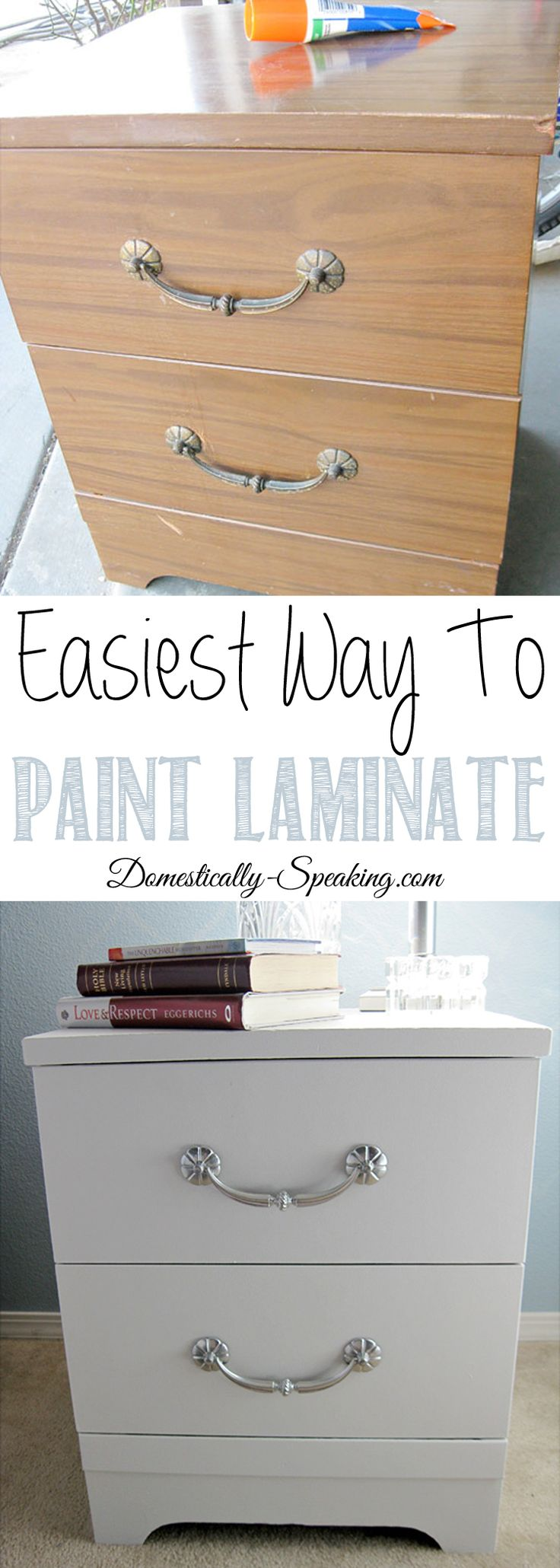 Tutorial on how to paint laminate furniture.  Shares how to paint ugly laminate nightstands easily.