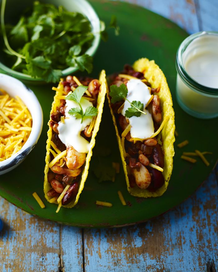 How do you make veggie chilli even better? Put it in a taco! Great for vegetarian party food.