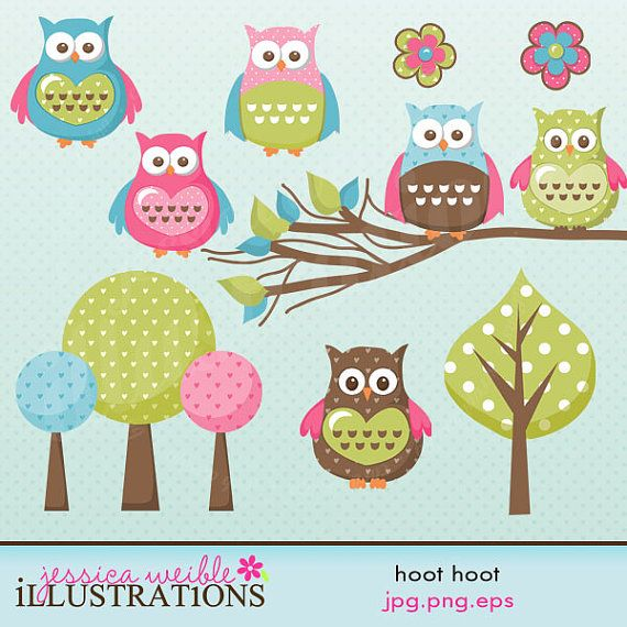 Hoot Hoot Cute Digital Clipart for Card Design by JWIllustrations, $5.00