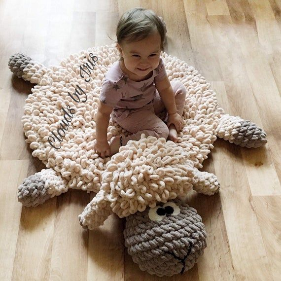Tapete Borreguito In 2020 Arm Crocheting Crochet Mat Baby Rugs