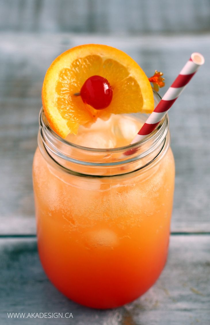A classic Shirley Temple Recipe made with Orange Juice. Non Alcoholic of course!