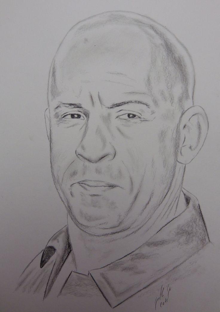 Vin Diesel. Portrait au fusain