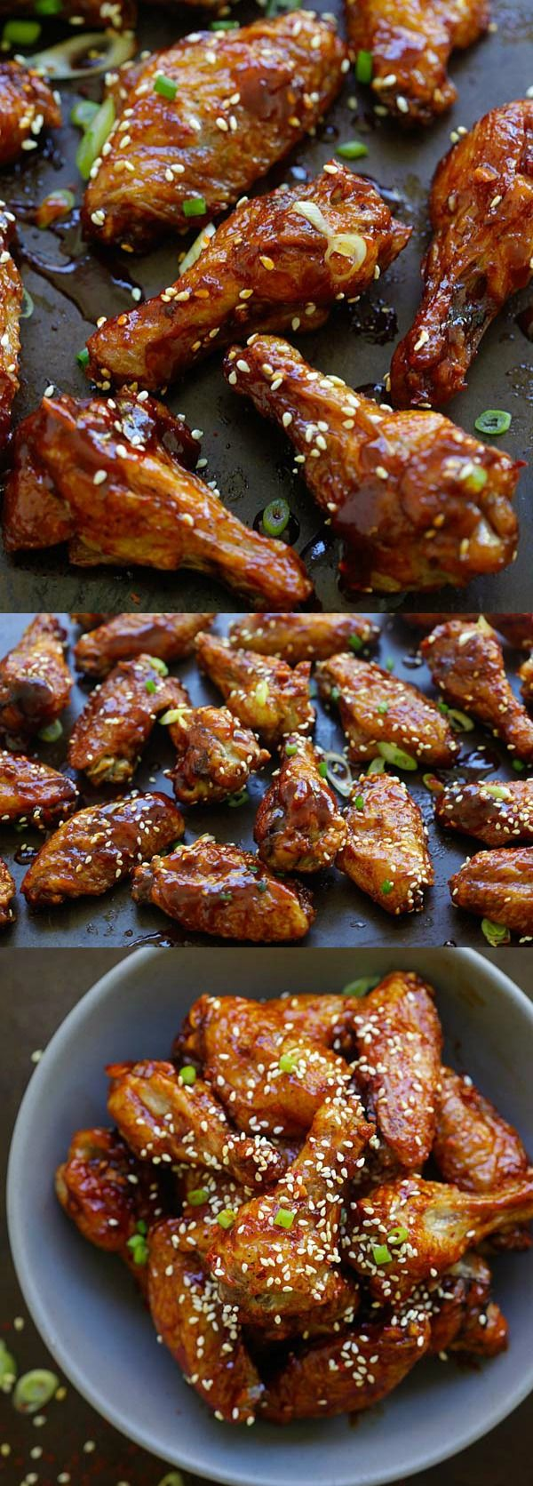Spicy Korean Chicken Wings - sticky and addictive Korean chicken wings with sweet and savory Korean red pepper sauce. Finger lickin' good | rasamalaysia.com