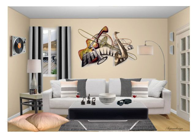"""""""THE MUSIC ROOM"""" by arjanadesign ❤ liked on Polyvore featuring interior, interiors, interior design, home, home decor, interior decorating, VCNY, ESPRIT, cupcakes and cashmere and WALL"""