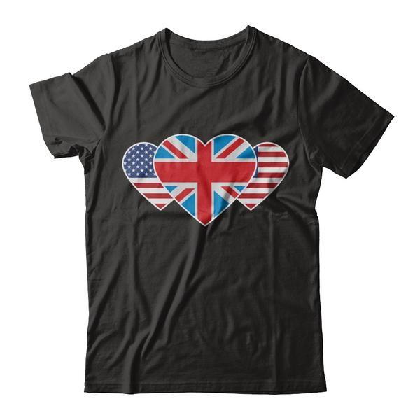 United Kingdom USA Flag Twin Heart for British American T Shirt