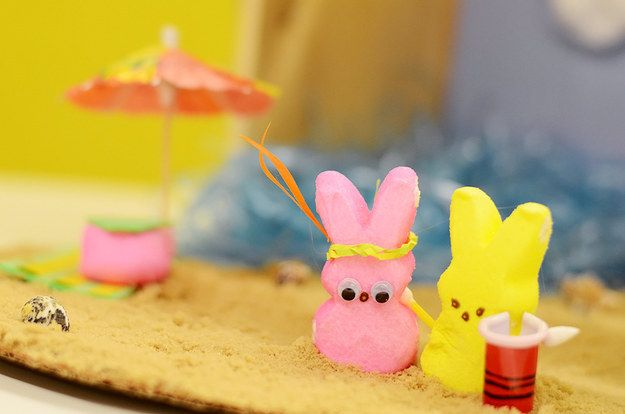 "Marshmallow Peeps are a controversial topic. | This Is The ""Spring Breakers"" Marshmallow Peep Diorama You Deserve"