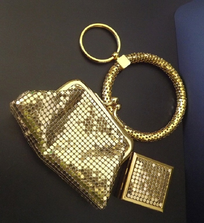Vintage Whiting and Davis Purse Pill Box Key Ring Signed Metal Mesh Purse Bag Coin Purse Accessories