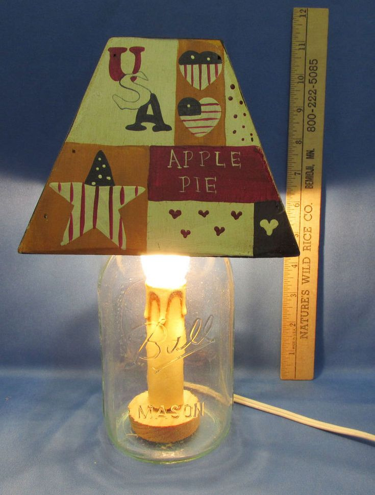 Country Primitive Mason Jar Electric Lamp With Wood Shade USA Patriotic  #Handmade #Country
