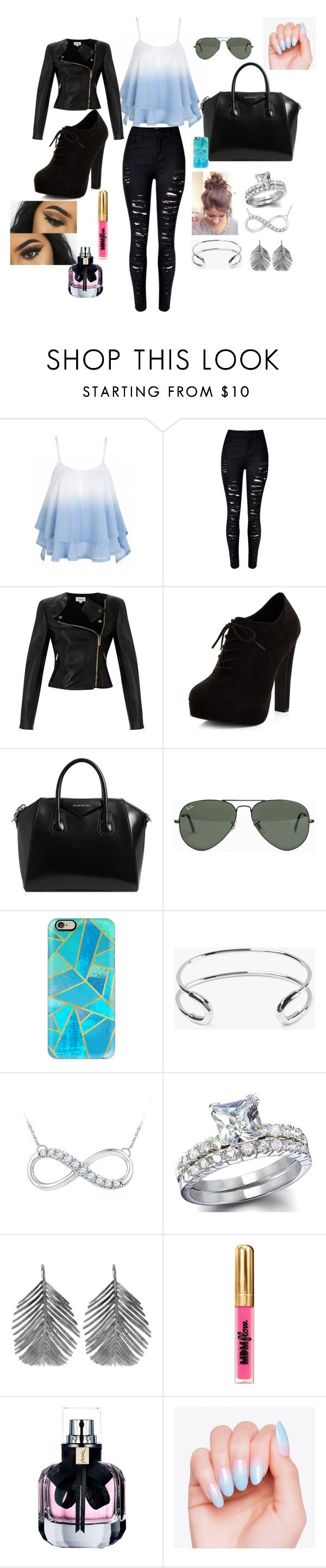 Fashion by izabels2003 on Polyvore featuring Temperley London, WithChic, New Look, Givenchy, Alex Monroe, Giles & Brother, Ray-Ban, Casetify, MDMflow and Yves Saint Laurent