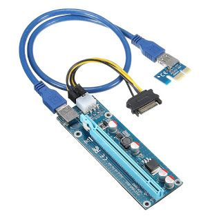 Wholesale 6pcs USB 3.0 PCI-E Express 1X 4x 8x 16x Extender Riser Adapter Card SATA 15pin Male to 6pin Power Cable (32800627065)  SEE MORE  #SuperDeals