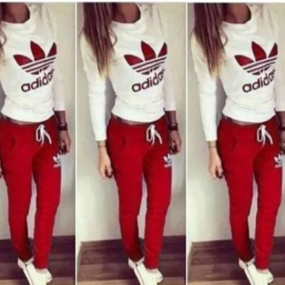 ADIDAS Athletic gym set jump suit NEW track suit ADIDAS work out jump suit. NEW. Small. Red and white. Sweatshirt & work out pants. ADORABLE ATHLETIC WEAR ❤️❤️ Adidas Pants Track Pants & Joggers