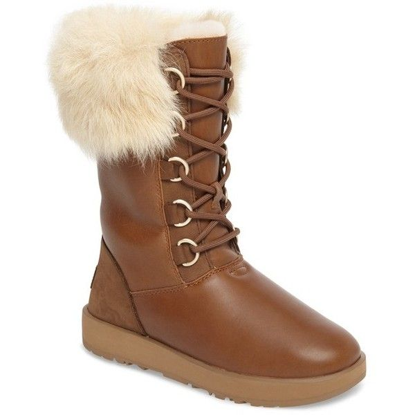Women's Ugg Aya Waterproof Snow Boot ($350) ❤ liked on Polyvore featuring shoes, boots, chestnut leather, shearling cuff boots, special occasion shoes, snow boots, treads shoes and ugg shoes