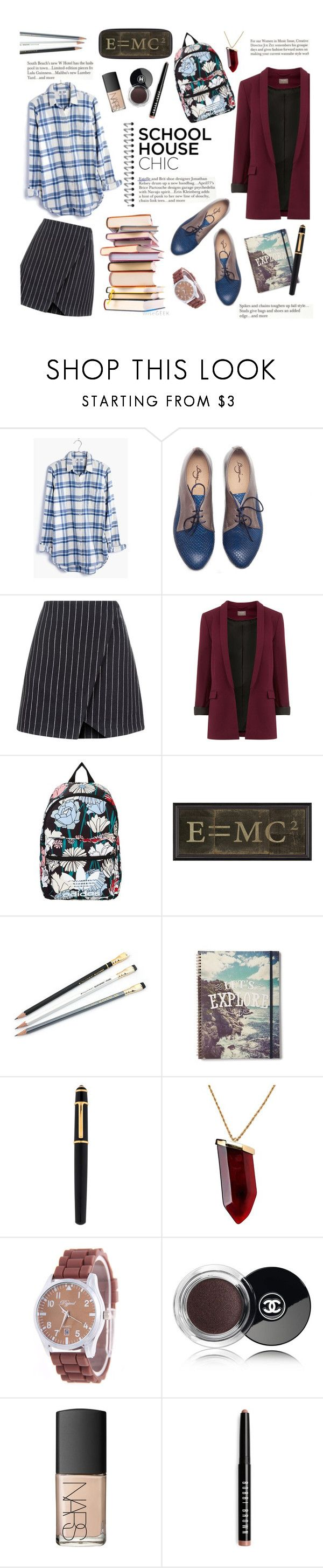 """""""School house chic"""" by buttercup-on-fire ❤ liked on Polyvore featuring Madewell, New Look, adidas Originals, MC2, Cartier, Kenneth Jay Lane, Chanel, NARS Cosmetics and Bobbi Brown Cosmetics"""