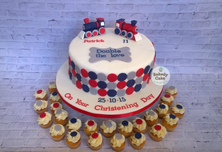 Twin Boys Christening Cake. Red, Navy and grey - no baby blue! Based on image found on Pinterest and tweaked it a bit for twins - by Bakedy Cake