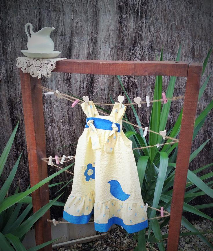 Blue-bird dress, yellow seer sucker, girl's dress, toddler dress, size 18 months, unique, hand made, applique pocket, birthday gift, by LittleLarkClothing on Etsy