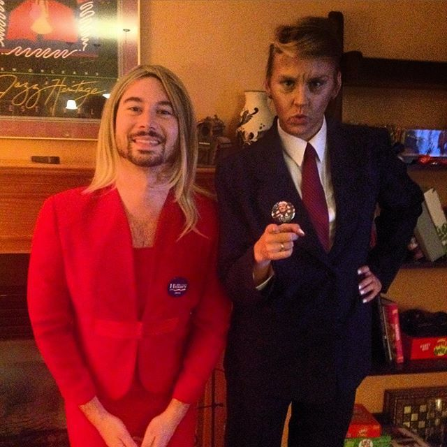 Pin for Later: 36 Couples Costume Ideas That Are Ridiculously Cheap Hillary Clinton and Donald Trump