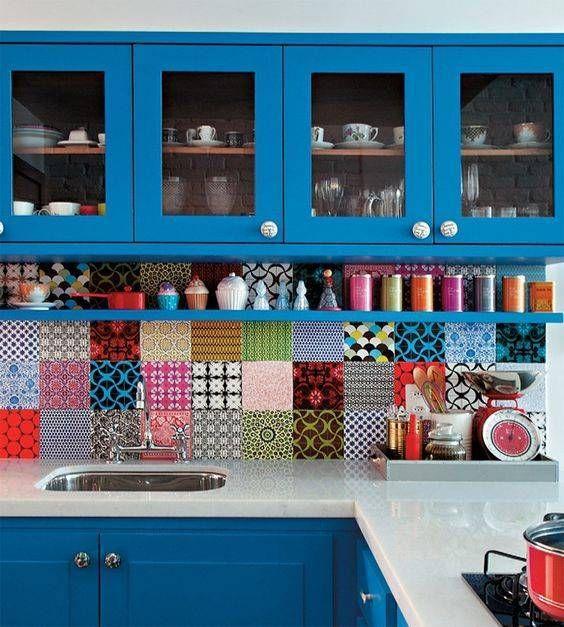 a very colorful kitchen.