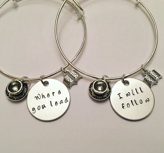 """Where You Lead I Will Follow Rory Gilmore Lorelai Gilmore Girls BFFS Sisters Girlfriends Mother Daughter Adjustable Charm Bangle Bracelets Each bangle bracelet is made to order, and each letter is stamped individually by hand, so every item will be slightly unique! The product you receive may vary from the photo shown. Charms and beads will remain the same unless order is customized. The hand stamped charm is 1"""" aluminum. If you need this item quickly please contact me for information…"""
