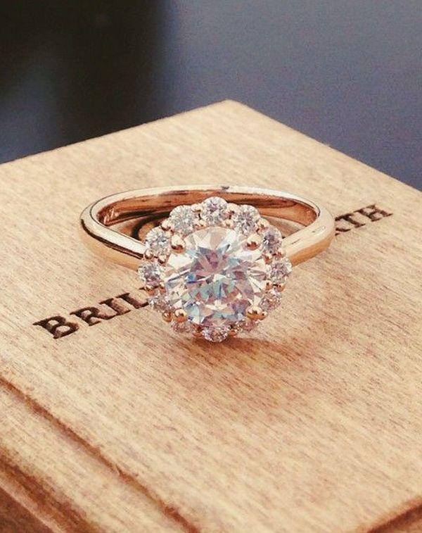 round cut vintage rose gold diamond wedding engagement rings