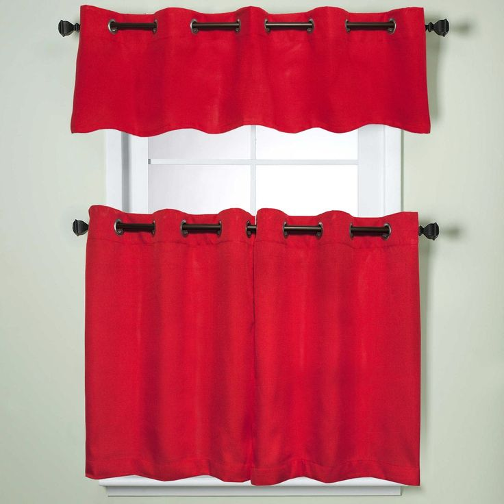 Modern Sublte Textured Solid Red Kitchen Curtains With Grommets Tiers and Valance (36 inch tier pair, red)