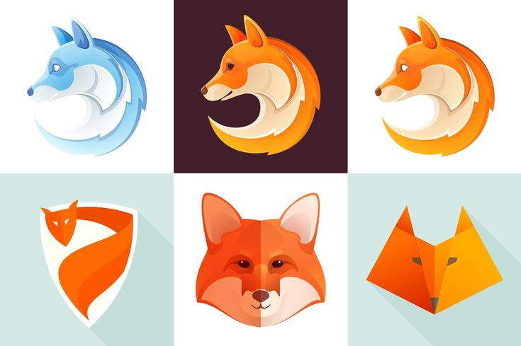 6 colorful fox icons by kaer_shop on @creativemarket